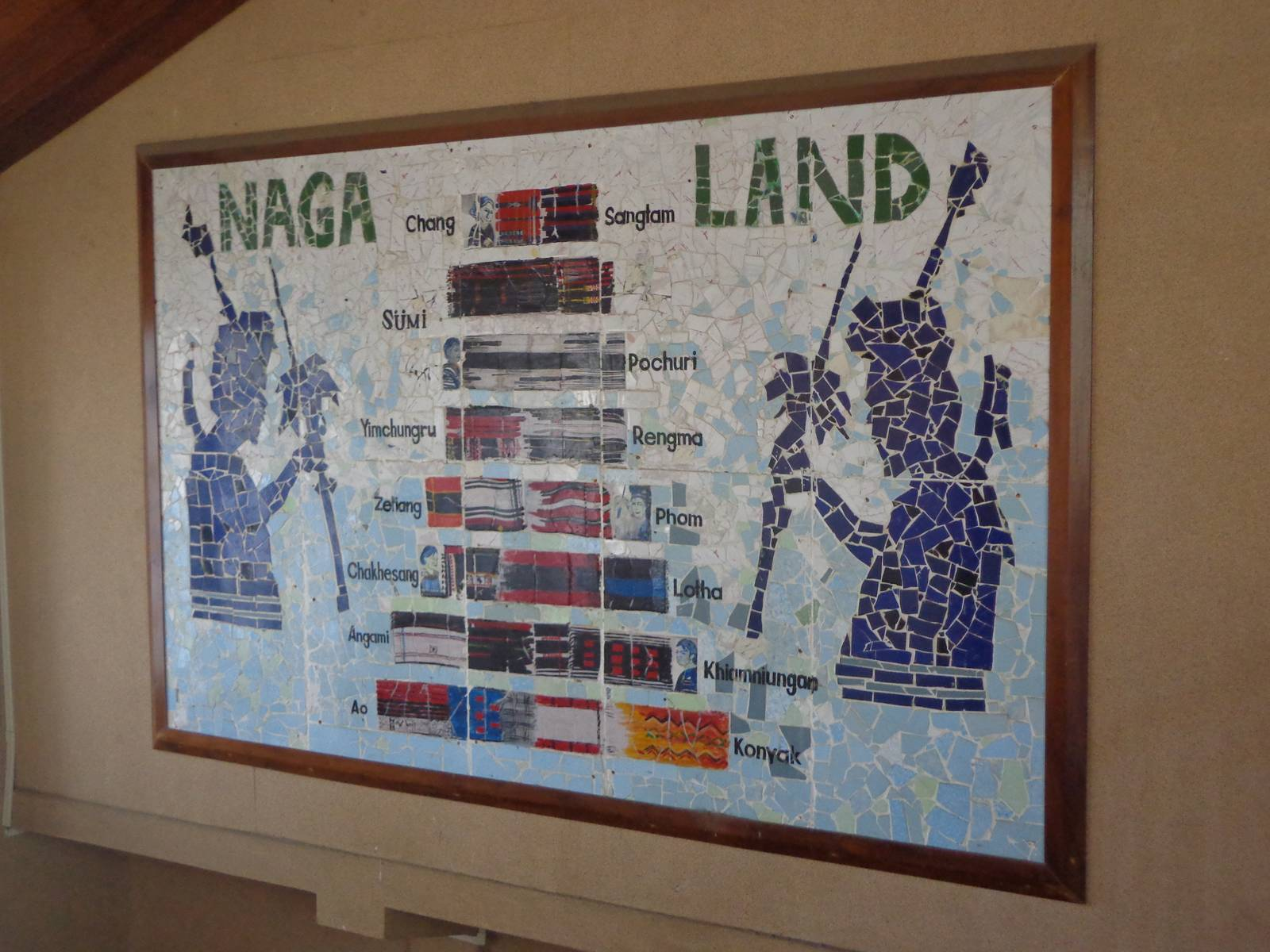 A wall mural serves as a cheat sheet to various Naga tribes.