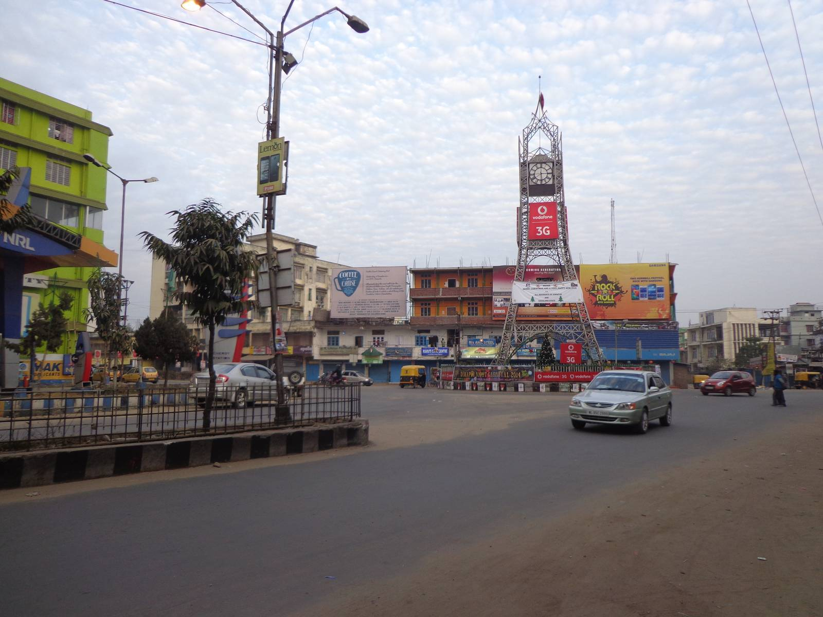 Dimapur city tower area looks like a ghost town on a Sunday. All the shops were closed.