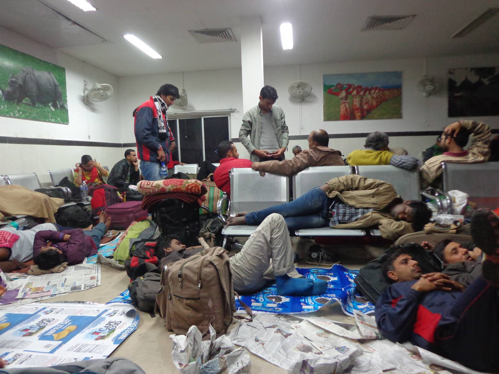 The messy and disorganised waiting room at Guwahati.