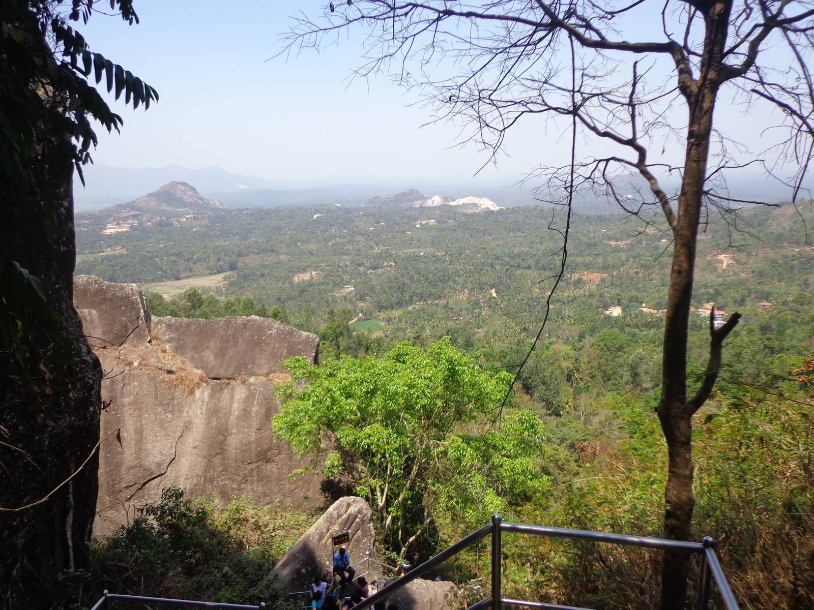 The view of the settlements from the entrance of upper Edakkal caves.