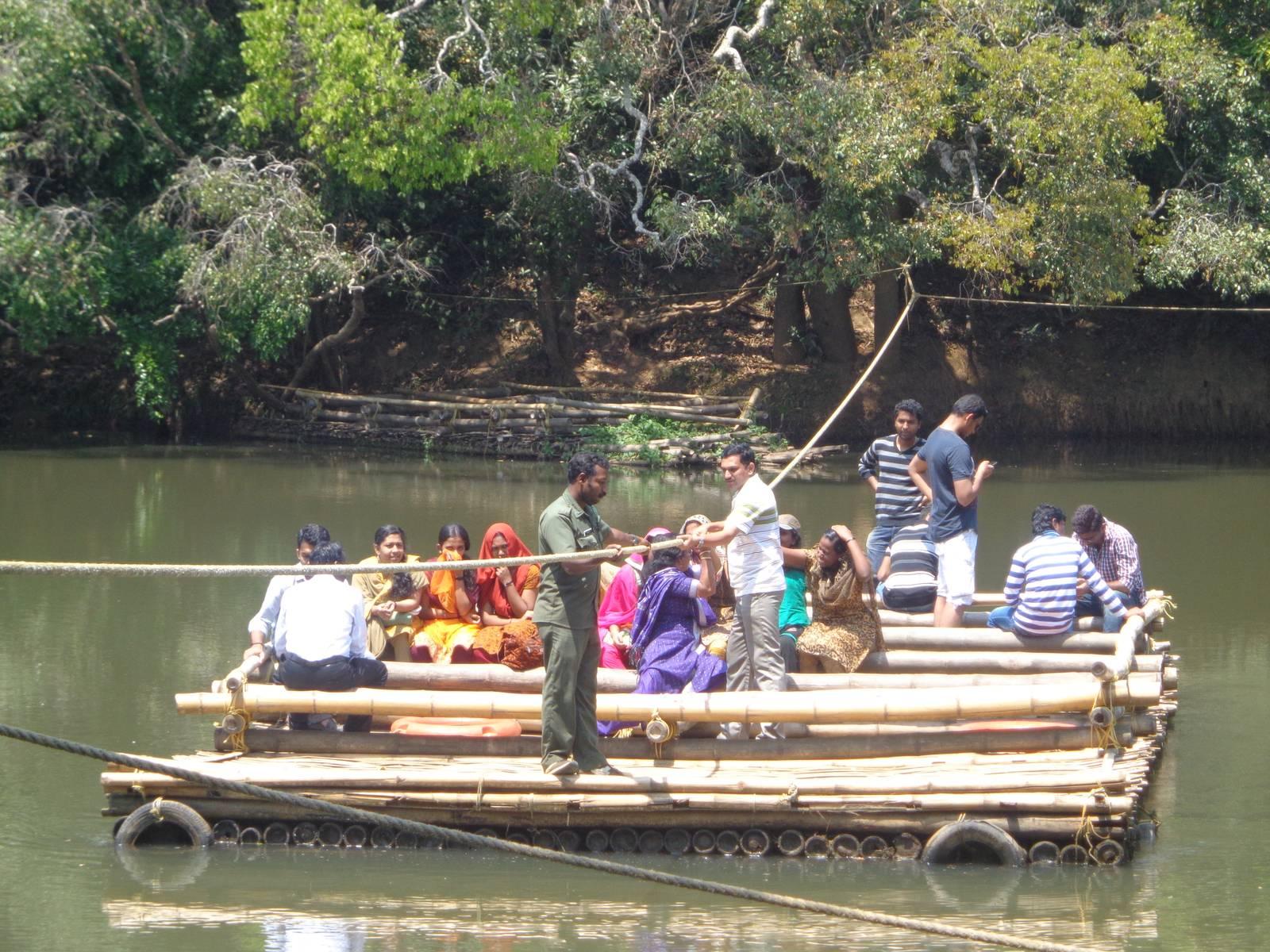 Kuruva Island had a raft to transport tourists to the island.