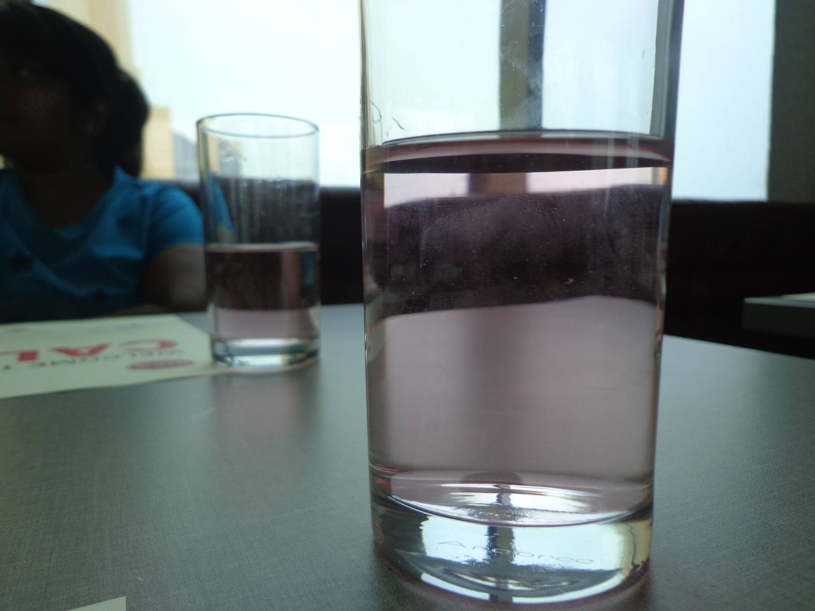 The pinkish hue of water is due to the usage of some herbal roots that is supposed to help in digestion.