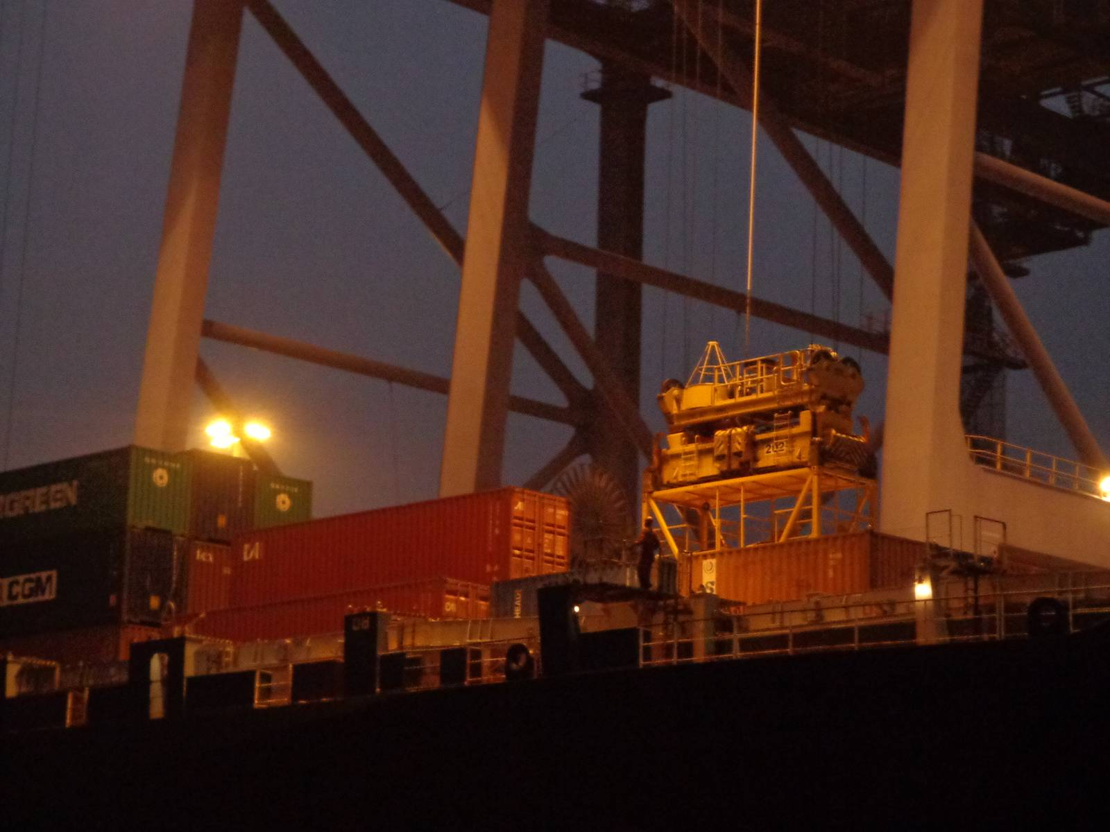 "A container being unloaded from the merchant ship, ""Indira Gandhi""."