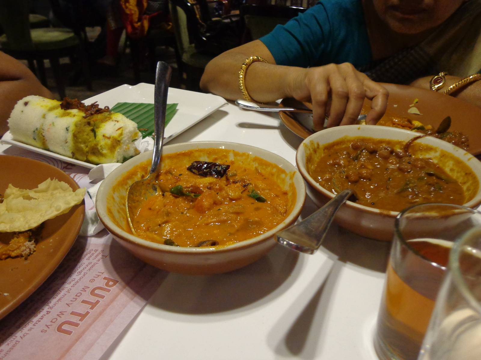 From L-to-R: Veg. Biriyani Puttu, Chemmeen (Prawn) Tomato Curry and Chickpea Curry.