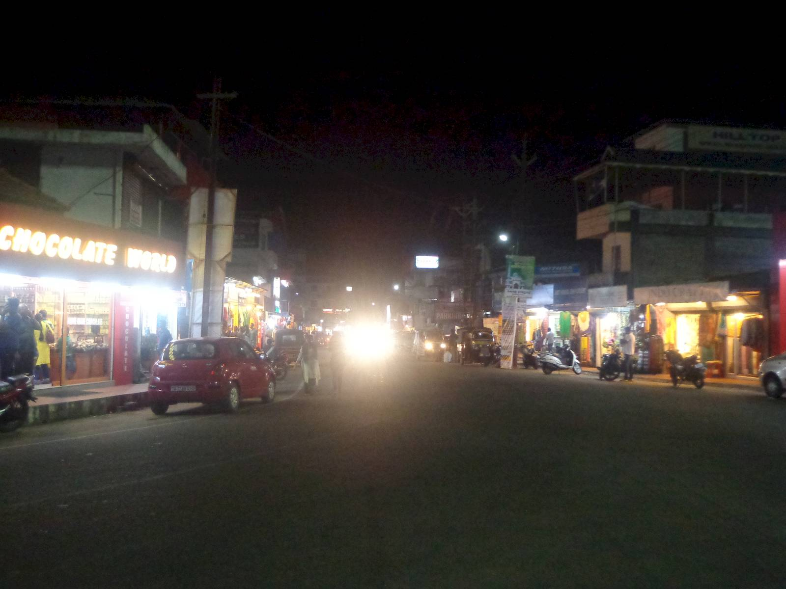 Kumally bus stop at night.