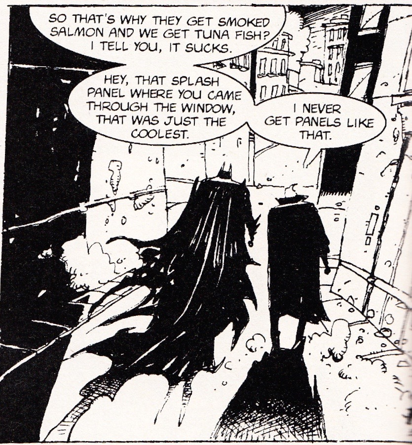 It is followed by this banal discussion between Batman and Joker. Joker complains that the artists never give him such panels.
