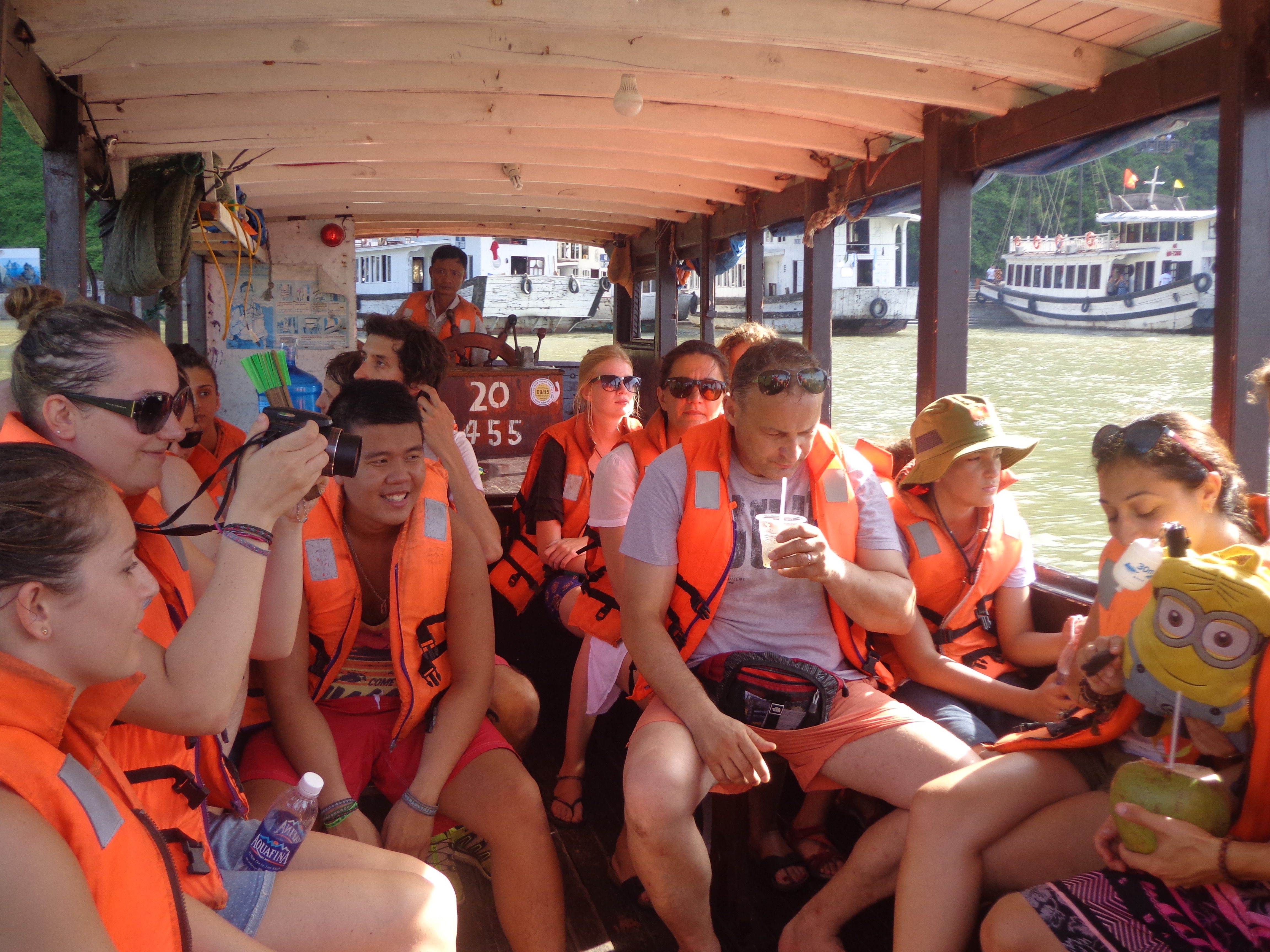 Our group being transported to our lodging vessel.
