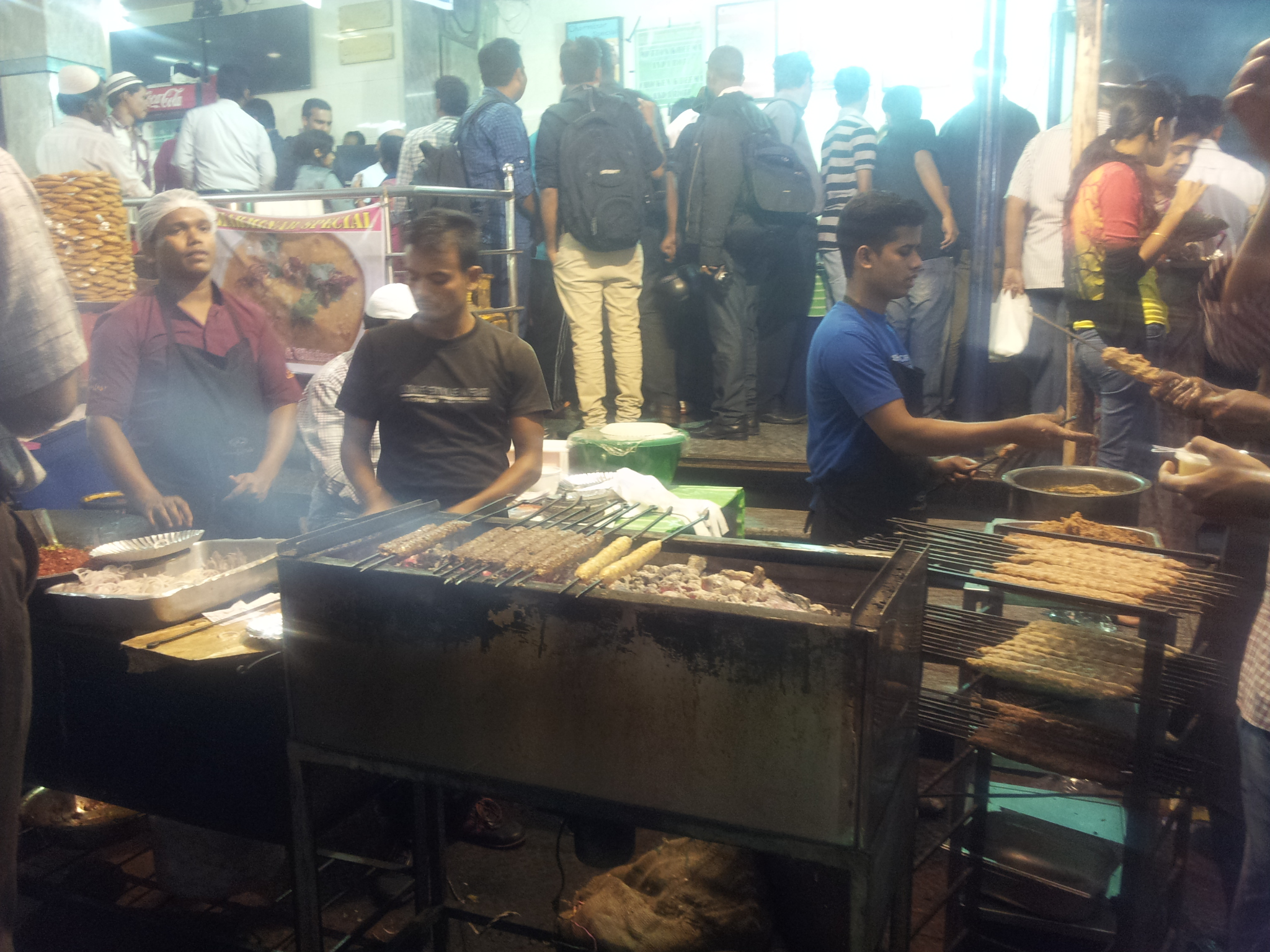 A dedicated section for kebabs in the shop adjacent to mosque. They  had dedicated sections for various types of sweets and deep fried items.