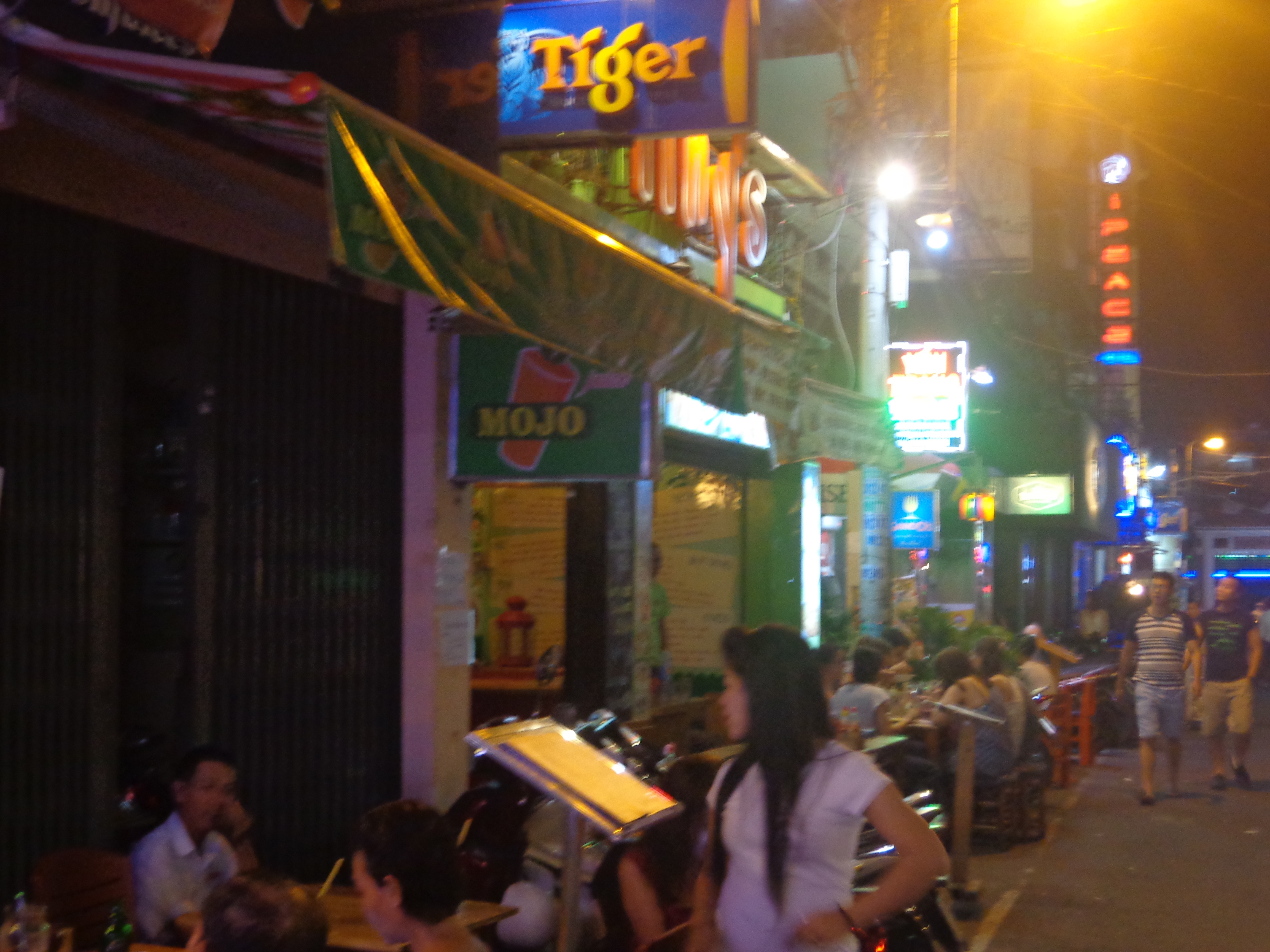 Tiny's restaurant on a street connecting Pham Ngu Lao and Bui Vien street.