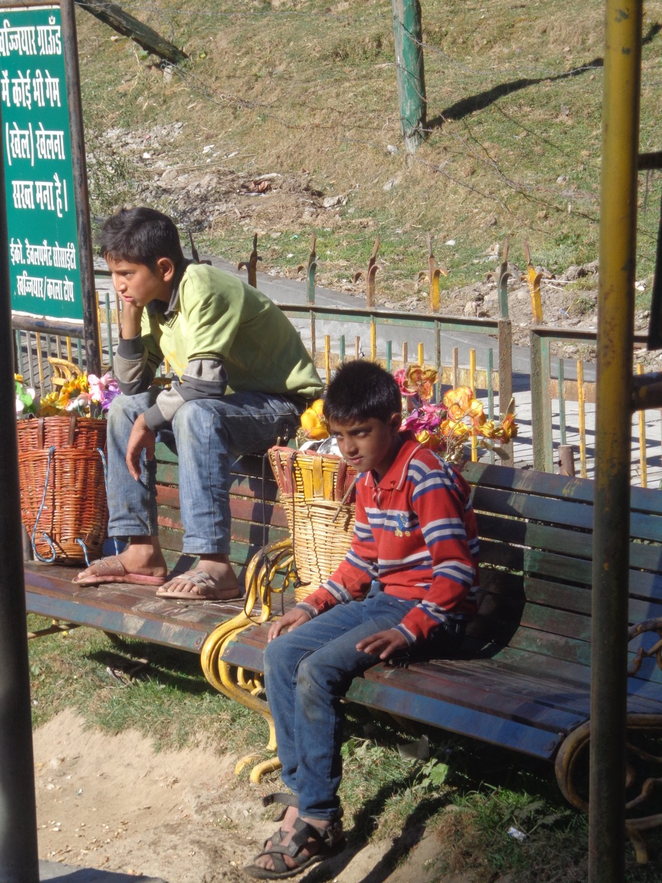 Two kids selling plastic flowers.