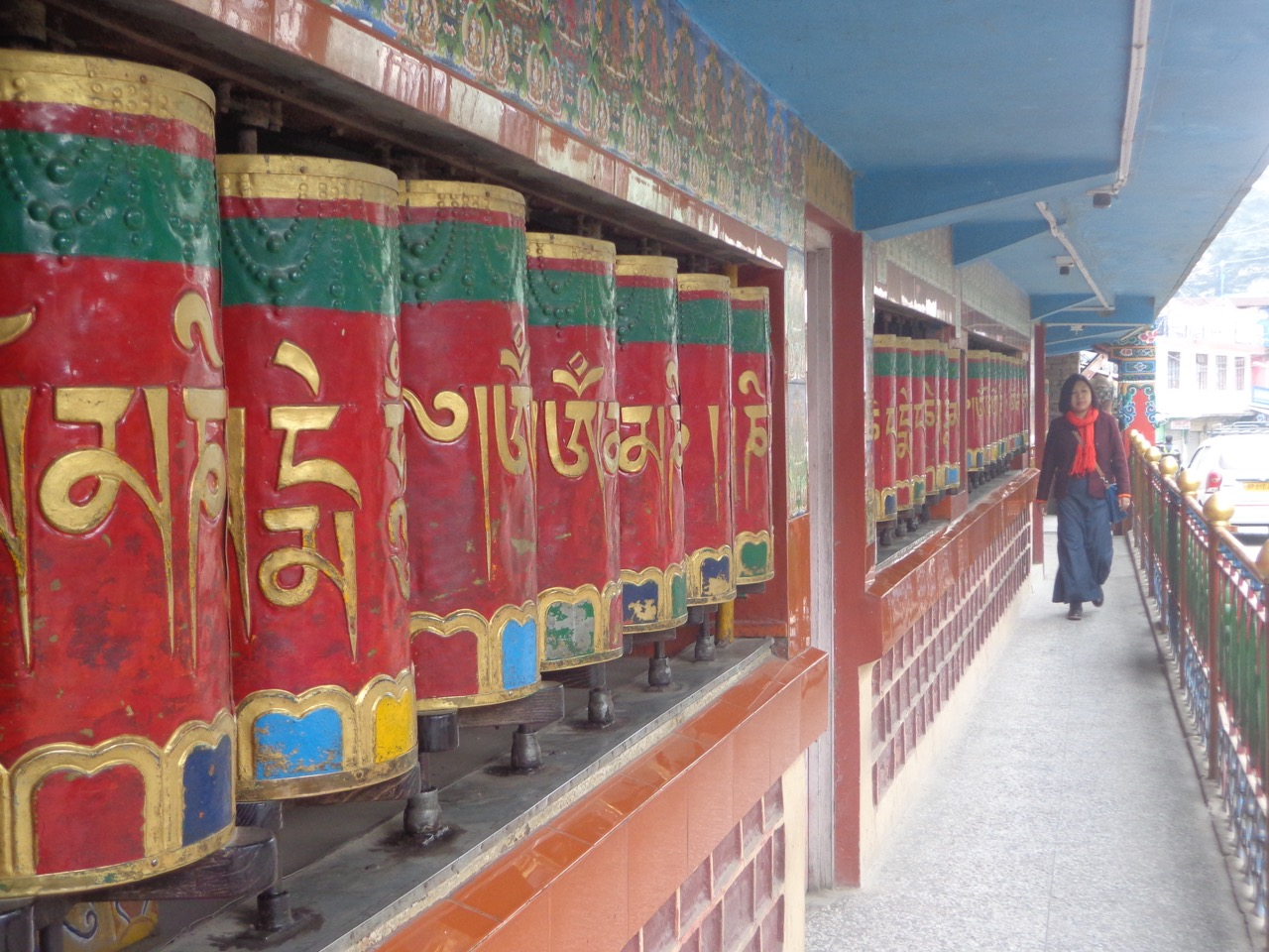 The prayer wheels of Kalachakra Temple.