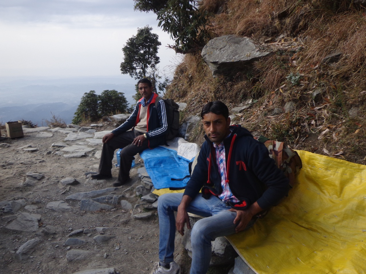 Purushottam and Kuldeep taking a break.