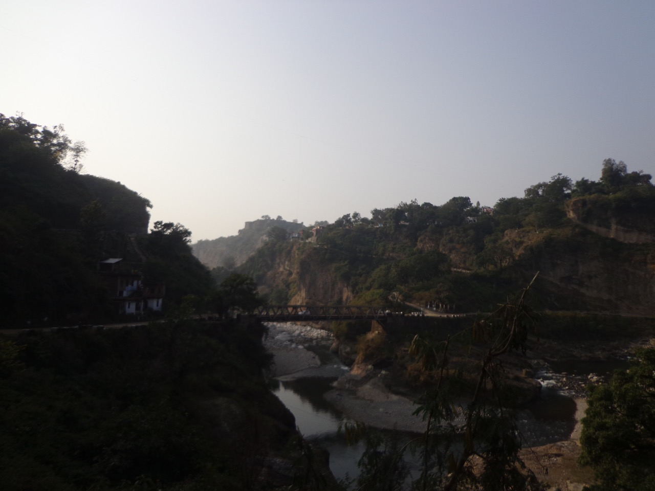 The fort on the hilltop is visible from Baner Khad.