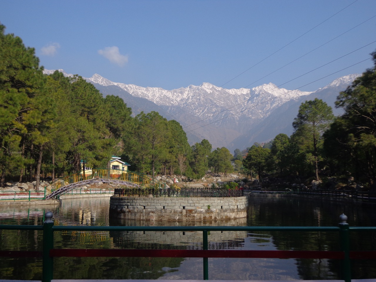 The boating area against the backdrop of Dhauladhar range.