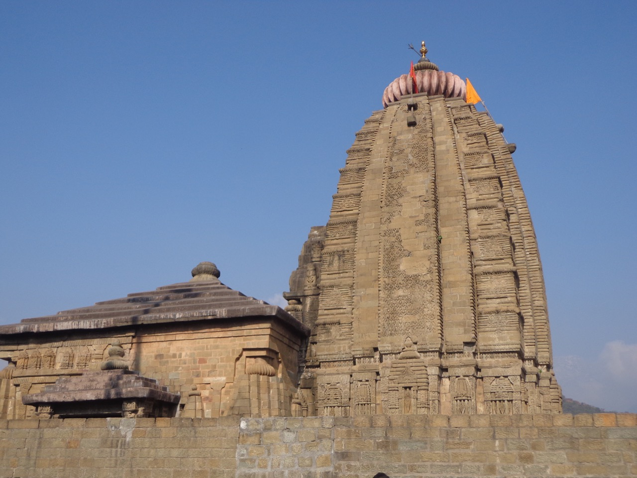 The spire of Baijnath Temple.