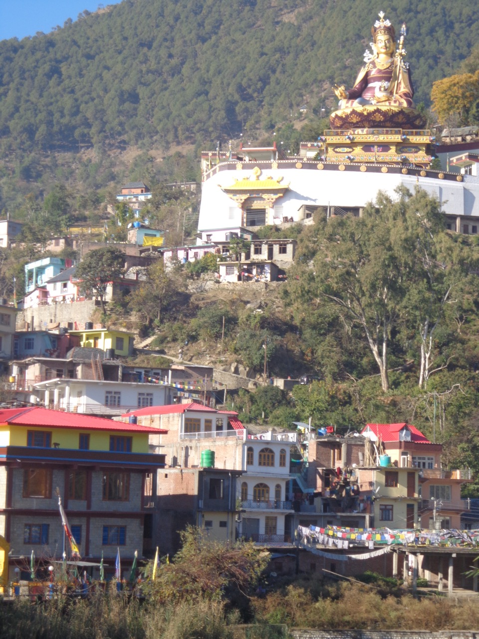 Padmasambhava's statue is visible from afar.