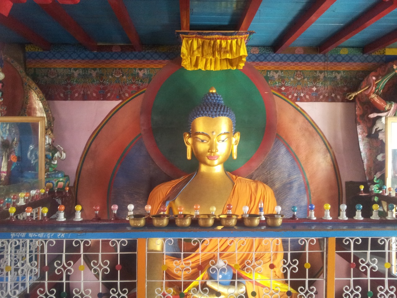 The Buddha idol inside the monastery.