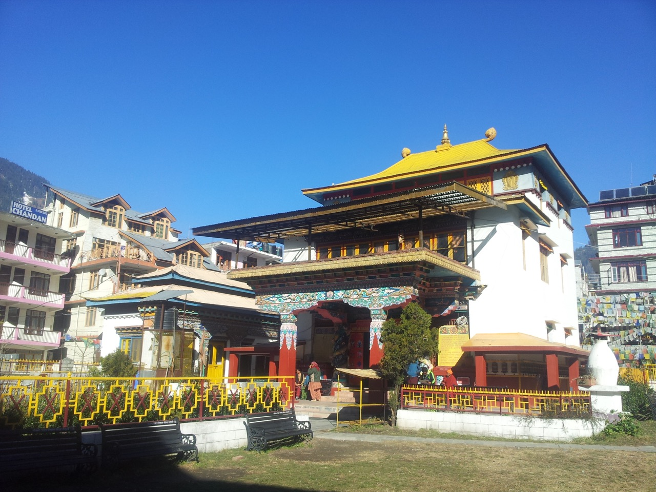 The Himalayan Buddhist Monastery. A Bengali guy runs the lodging inside the monastery. He had put signboards in Bengali all around the places.