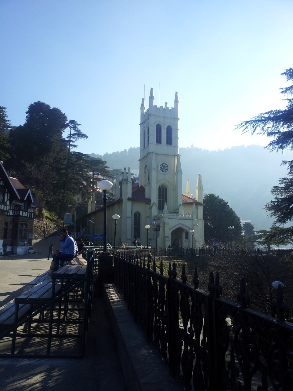 Shimla Christ Church is adjacent to the Ridge. For some reason, the church was closed. Also, note the peaking head of a statue amongst the foliage line in the background.