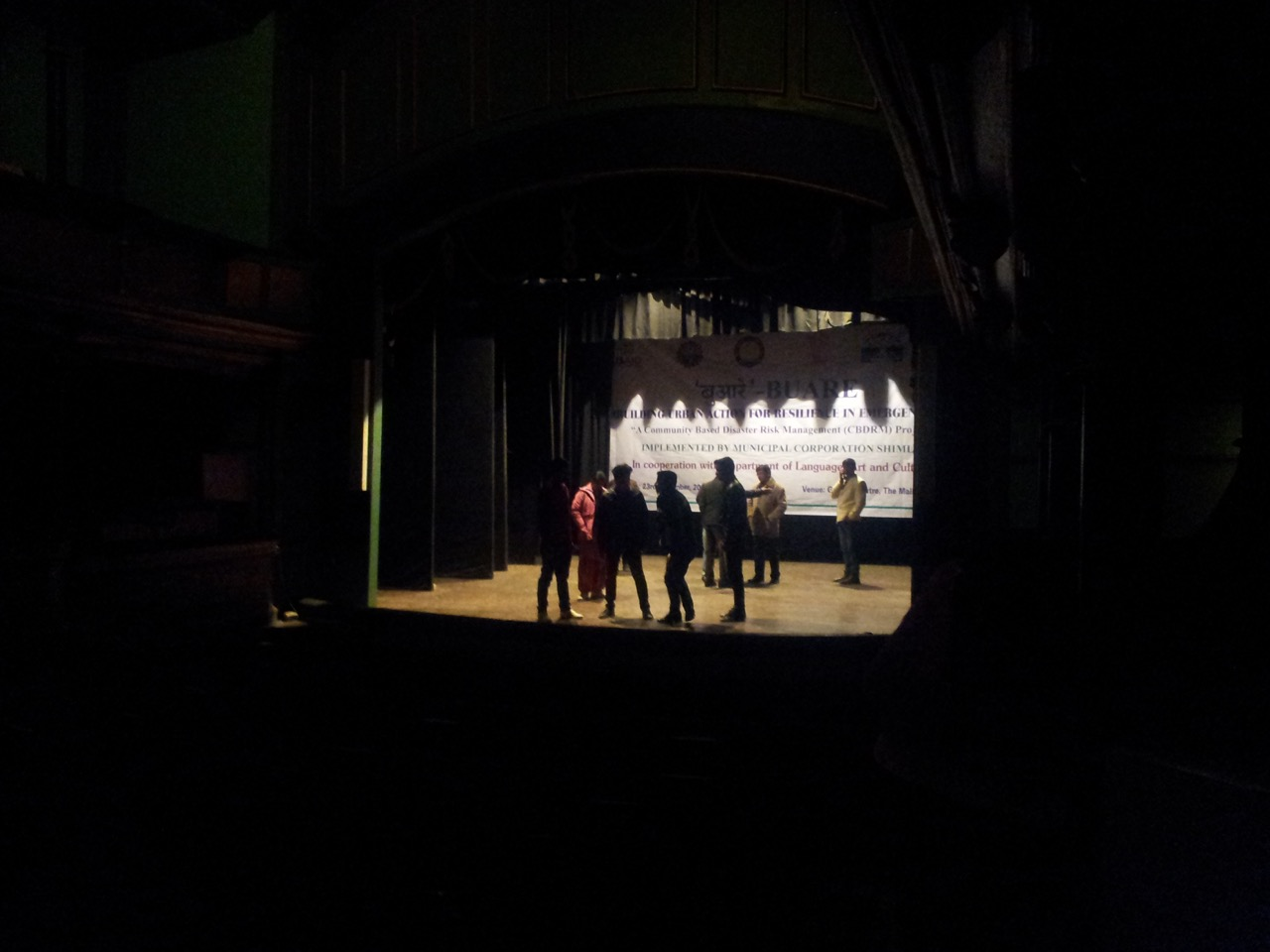 A group was rehearsing their play in the old theatre.
