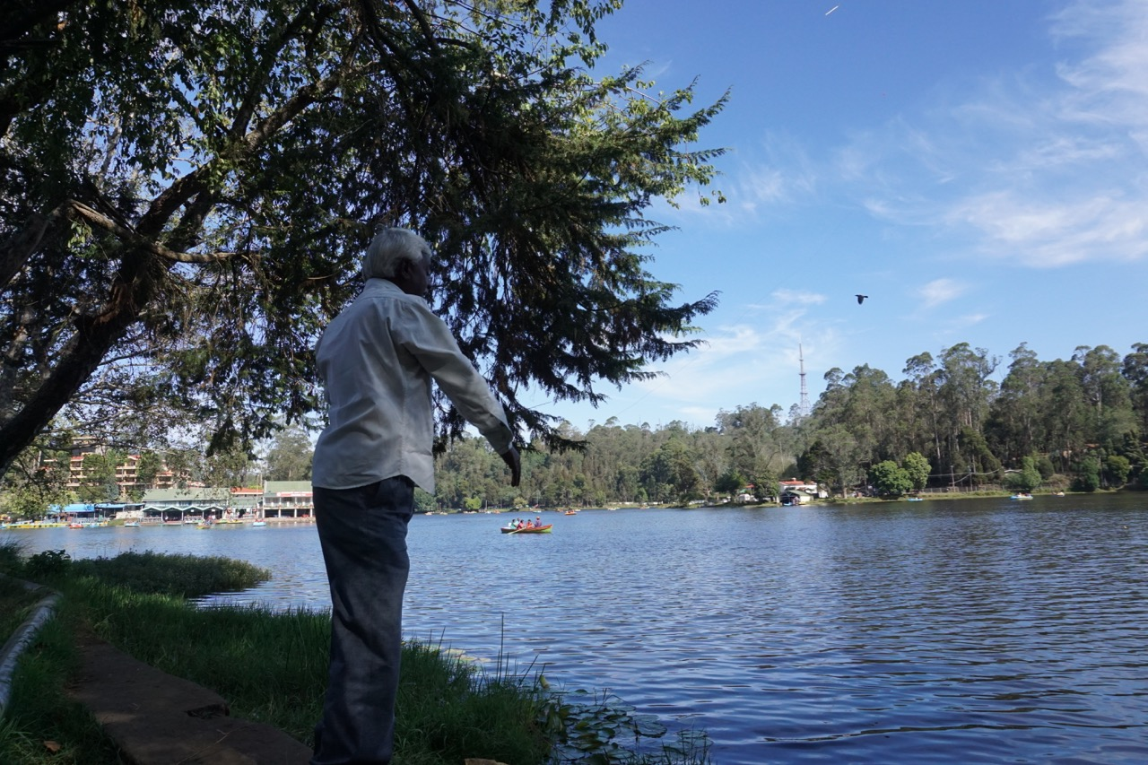 A lot of people into angling sit on the banks of the Kodaikanal lake. This man was trying hard to throw his hook into the deeper waters.