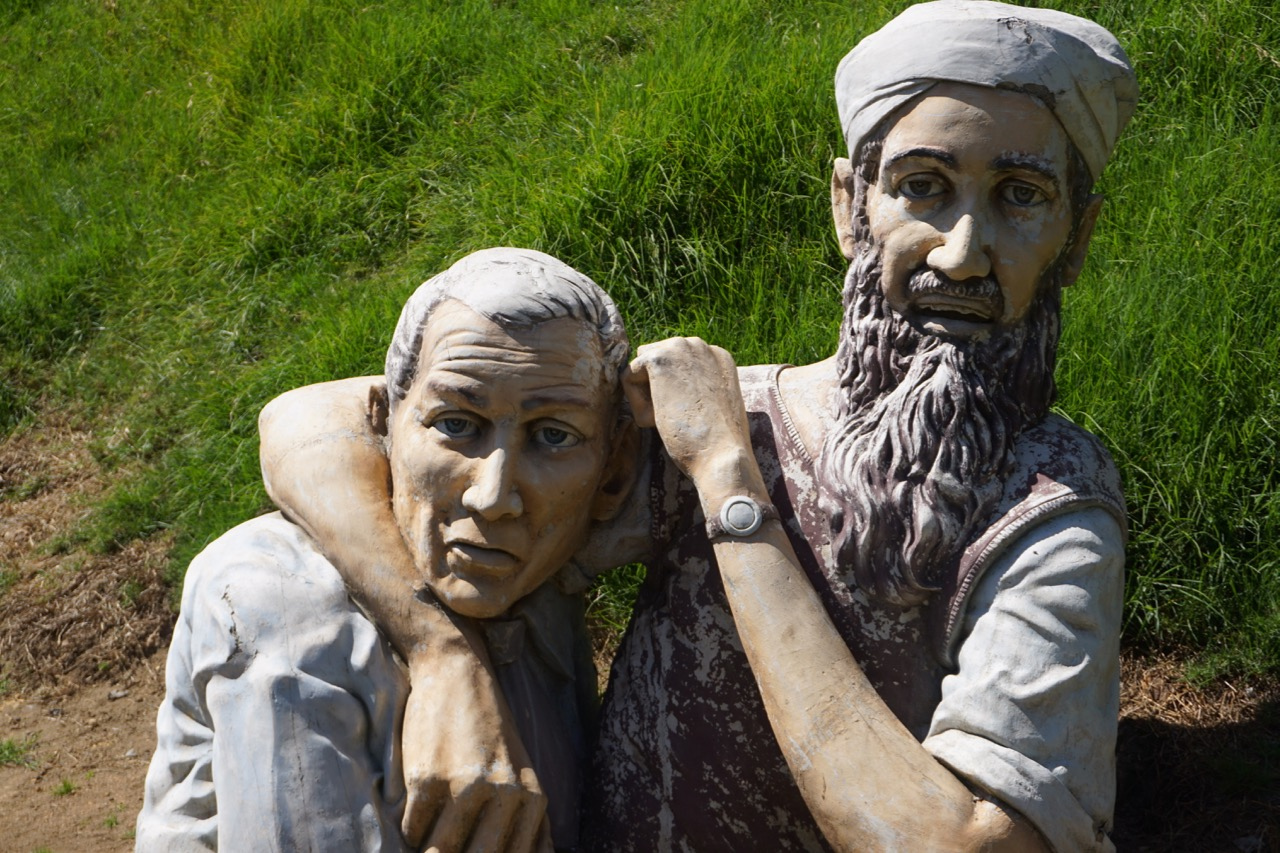 This strange and absurd sculpture was in the fields in front of our hotel. Bush and Bin Laden proxying as scarecrows?