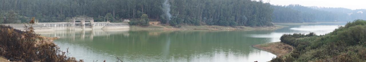 A panorama of Kamaraj Sagar Dam.