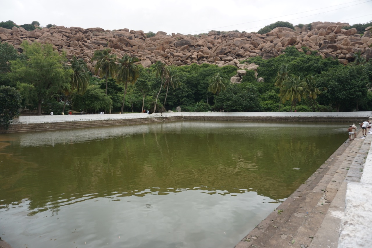 Pampa Sarovar. There was a pump attached to this sarovar.