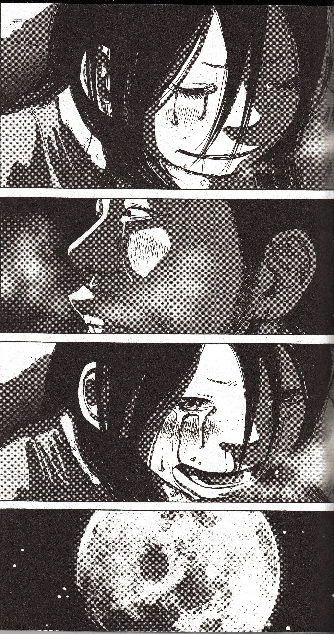 In isolation, these panels may appear to be too melodramatic. Yet, in context, they sit very well with the flow of the story. This is the only point where Rip finally sheds a tear in memory of Taneda.